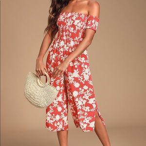 Lulus Red Floral Print Culotte Jumpsuit